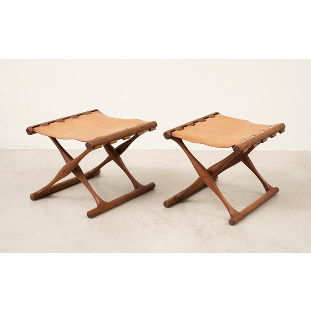 Pair of Teak and Leather Gold Hill Stools by Poul Hundevad, Denmark, 1950s For Sale - Image 13 of 13