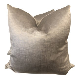 "Clarke & Clarke ""Patina"" Pewter 22"" Pillows-A Pair For Sale"