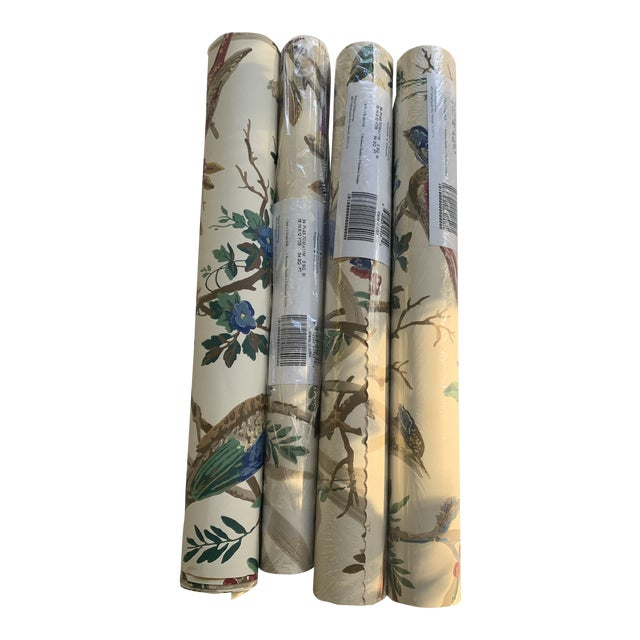 Vintage Thibaut Botanical Wallpaper Rolls - 2 Double Rolls & 2 Single Rolls For Sale