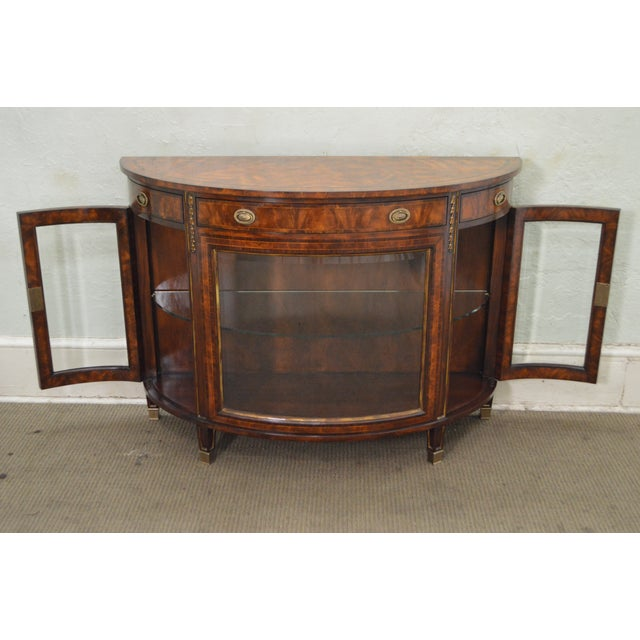 Theodore Alexander Flame Mahogany Regency Style Demilune Curio Base Commode Console - Image 7 of 10