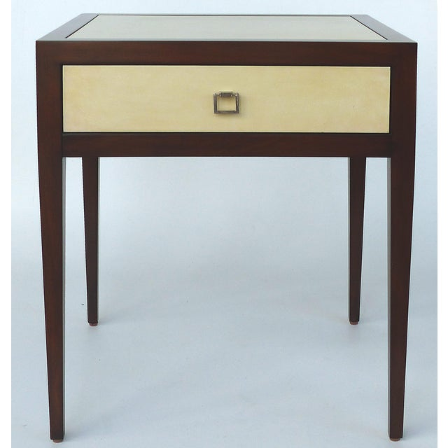 Williams & Sonoma Home Mahogany & Parchment Side Table For Sale - Image 11 of 11