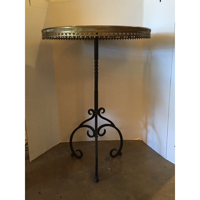 Italian Wrought Iron Base & Marble Top Bistro Table - Image 6 of 6