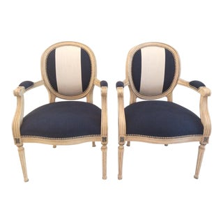 Vintage Mid-Century French Louis XVI Style Armchairs - A Pair For Sale