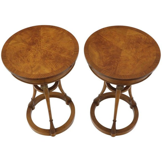 Pair of Tall Round Pedestal Shape Side End Tables on Tri Legged Bases Burl Wood For Sale - Image 13 of 13