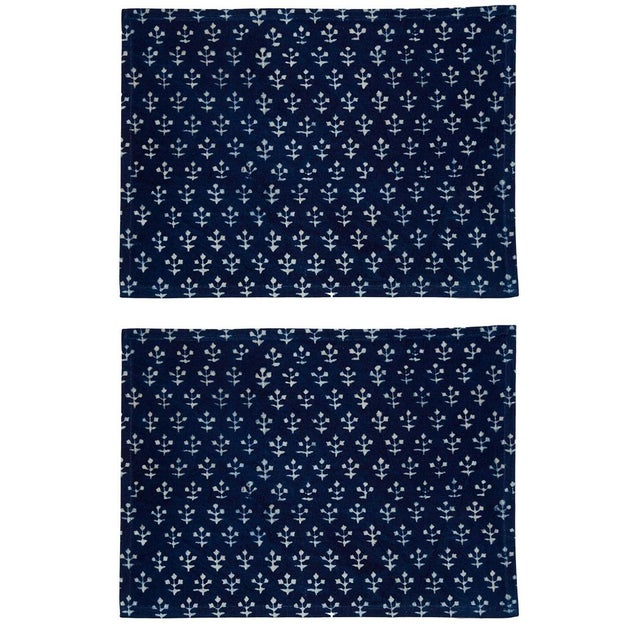 Jamini Placemats Indigo - A Pair For Sale - Image 4 of 4
