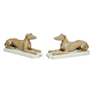 Pair of Victorian Pine Figures of Reclining Greyhounds For Sale
