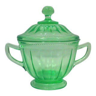 Art Deco Era Federal Green Lidded Sugar bowl