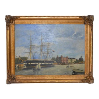 19th Century Dutch Trading Vessel Oil on Panel