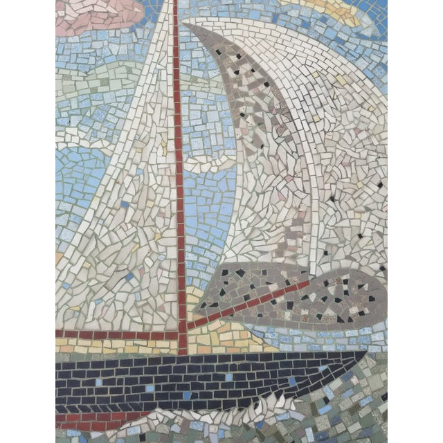 1950s Exceptional Mosaic Tile Coffee Table With Sail Boat For Sale - Image 5 of 13