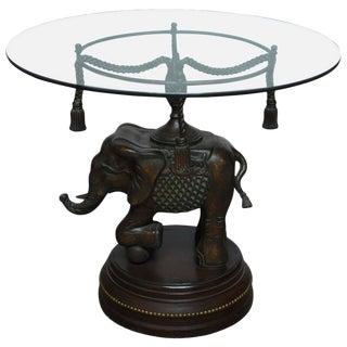 Bronze Elephant Pedestal Side Table