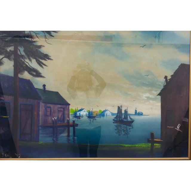 Original Framed Coastal Seascape Painting For Sale - Image 5 of 11