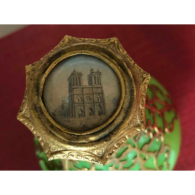 Antique Palais Royal French 19th Century Opaline Perfume Bottle Green With Cased Gold For Sale - Image 4 of 5