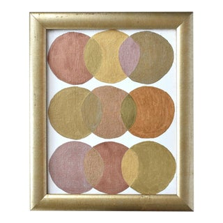 Contemporary Geometric Abstract Circles Painting in Gold, Copper, and Bronze For Sale