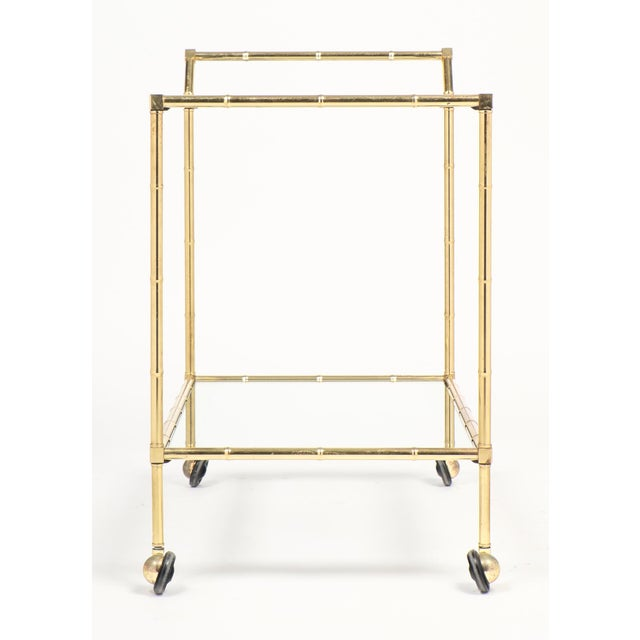 1950s Vintage French Brass Faux Bamboo Bar Cart or Trolley by Maison Baguès For Sale - Image 5 of 9