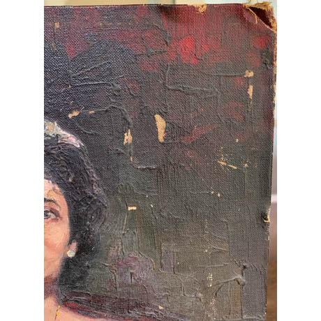 Mid-Century Modern 1940's Lady Painting, Portrait - Red Velvet For Sale - Image 3 of 7