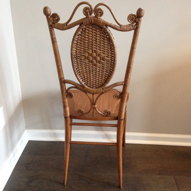 Heywood-Wakefield Co. Heywood Brothers Wakefield Antique Victorian Wicker and Cane Chair For Sale - Image 4 of 9