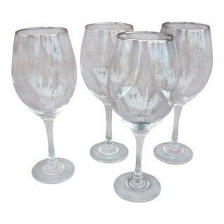 Italian Crystal Wine Glasses - Set of 4 For Sale