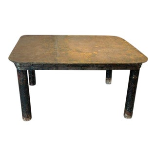 Mid 20th Century French Industrial Patinated Steel Workshop Table For Sale