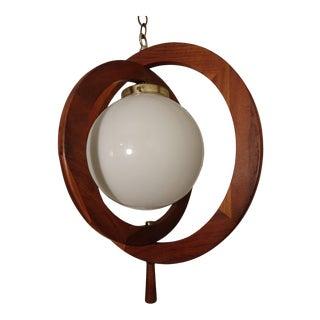 1960s Mid-Century Danish Modern Walnut Orbital Ringed Swag Lamp For Sale