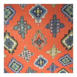 Orange Ikat Design Woven Upholstery Weight Fabric