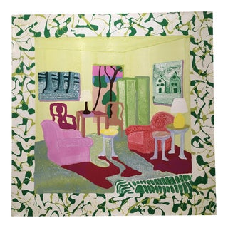 """Contemporary Cham Hendon Painting of an Interesting Interior Entitled """"Seymours Room"""". For Sale"""