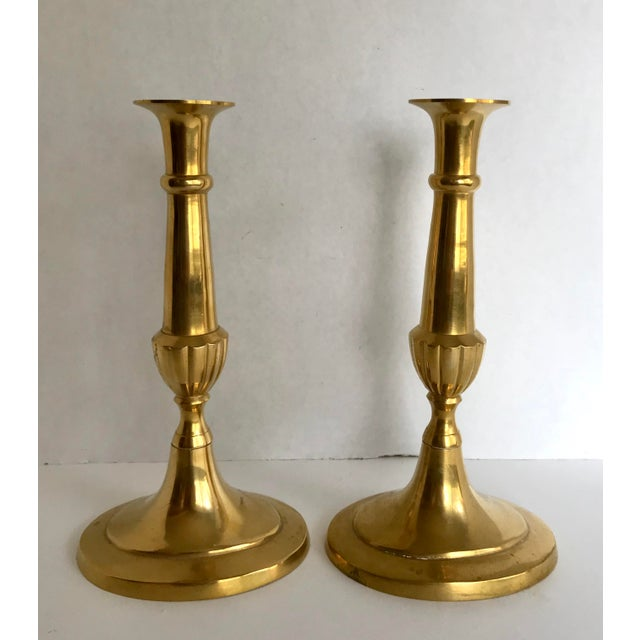 Brass Classic Brass Candle Holders - a Pair For Sale - Image 8 of 8