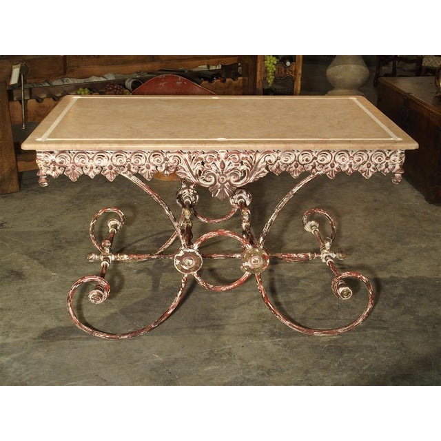 Metal French Iron and Marble Pastry Table For Sale - Image 7 of 13