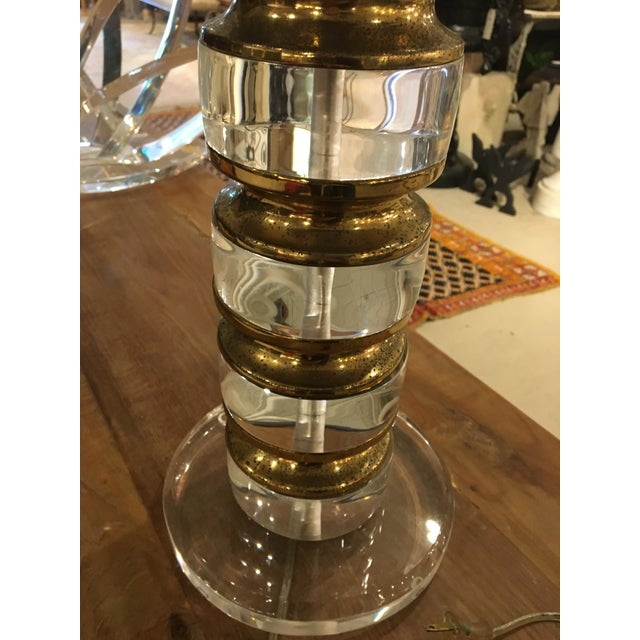 Vintage Lucite and Bass Lamp - Image 4 of 9