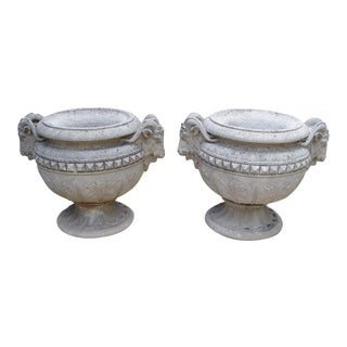 Pair of Cast Stone Rams Heads Urns from France, Circa 1960
