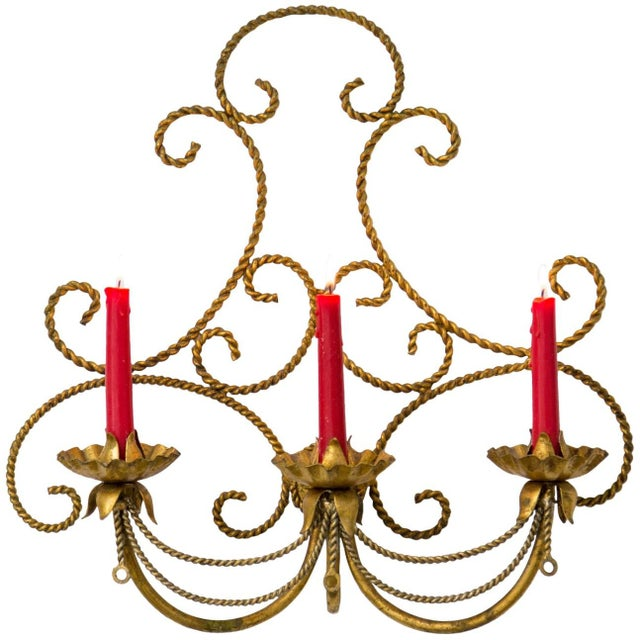 Italian Gilded Tole 3-Candle Wall Sconce For Sale In Milwaukee - Image 6 of 6