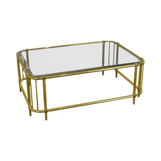 Mastercraft Brass & Glass Coffee or Cocktail Table For Sale