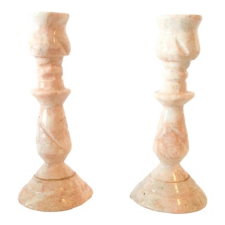 Mid-Century Pink Marble Hand Carved Candlesticks - a Pair For Sale