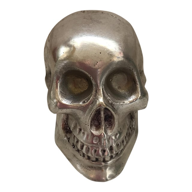 Vintage Silver Metal Skull For Sale - Image 12 of 12