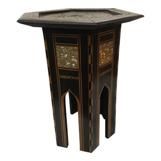1960's Vintage Octagonal Small Inlaid Table For Sale