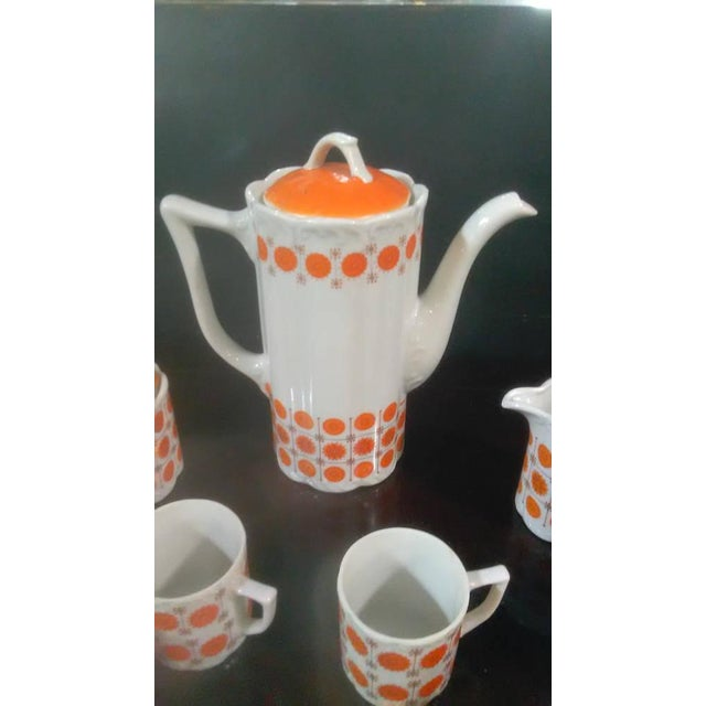 Vintage Mid-Century Japanese White & Orange Porcelain Tea Set - 9 Pc. - Image 6 of 8