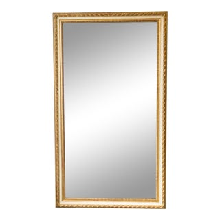 19th Century Large Rectangular Gold and White Frame French Mirror For Sale