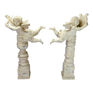 Wood Carved Shabby Musical Putti/Cherub Angels French Carved Distressed Column Decor Mantle - a Pair For Sale