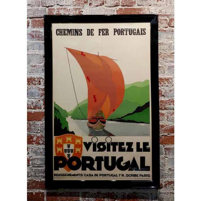 Glass 1937 Original Art Deco French Advertising Poster, Visitez Le Portugal For Sale - Image 7 of 7