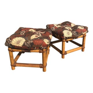 1990s Vintage Bamboo Ottomans - A Pair For Sale