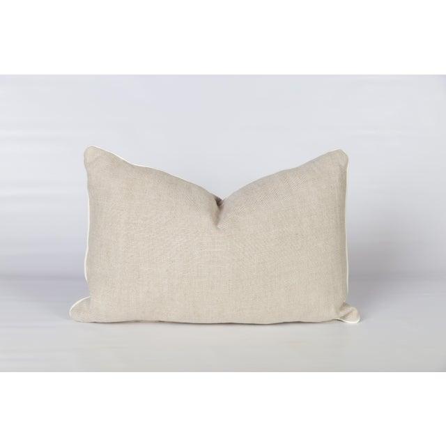 2020s Oatmeal Linen Fretwork Lumbar Pillow For Sale - Image 5 of 6