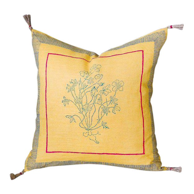 Aditi Handwoven & Block-printed Linen Pillow - 18x18 No Insert For Sale
