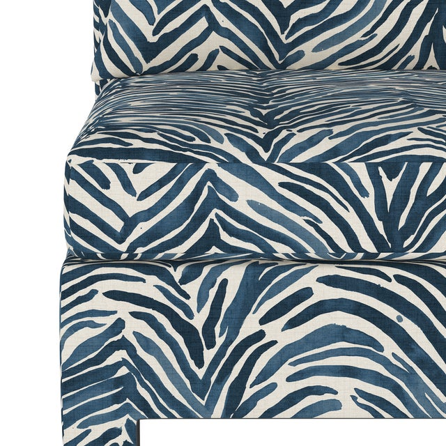 Not Yet Made - Made To Order Armless Chair, Washed Zebra Blue For Sale - Image 5 of 8