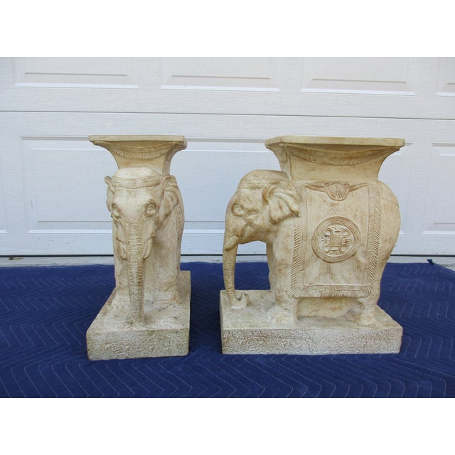 20th Century Boho Chic Elephant Pedestals - a Pair For Sale - Image 13 of 13