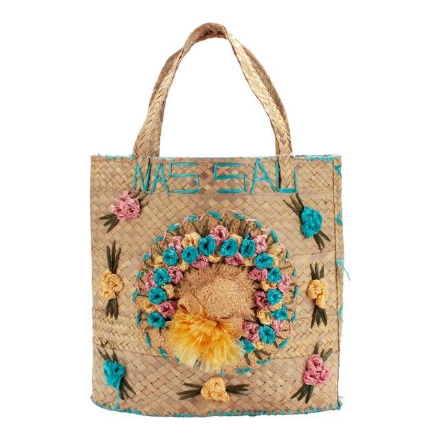 Vintage Woven Nassau Tote Bag Souvenir For Sale