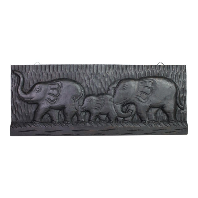 African Mid-Century Hand-Carved Elephant Wall Plaque on Ebonized Wood For Sale