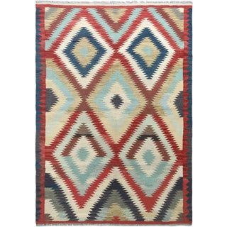 "Hand Knotted Traditional Design Wool Uzbek Rug. 4'8"" X 6'5"" For Sale"