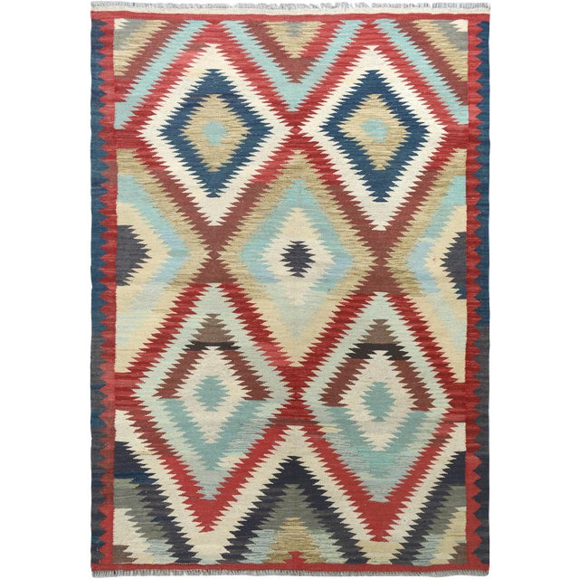"""Hand Knotted Traditional Design Wool Uzbek Rug. 4'8"""" X 6'5"""" For Sale"""