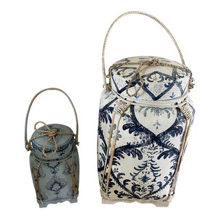 Indian Painted Jugs With Rope Detail - a Pair For Sale