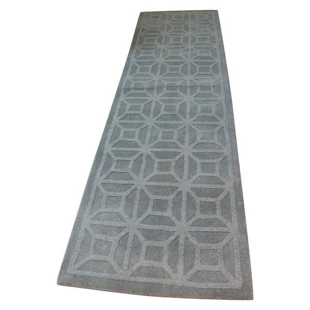 """Gray Blue Moroccan Runner - 2'3"""" X 8' - Image 1 of 4"""