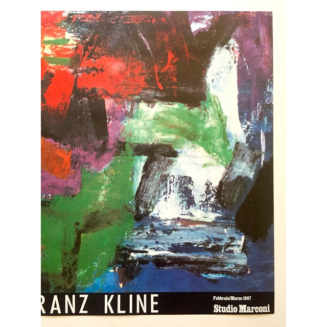 """Mid-Century Modern Franz Kline Rare Vintage 1987 Abstract Expressionist Lithograph Print """" Pafinvest Studio Marconi """" Italian Exhibition Poster For Sale - Image 3 of 13"""